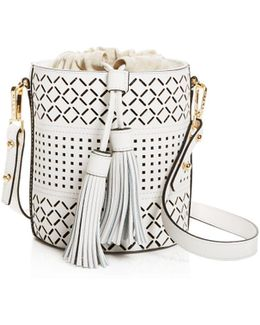 Laser Cut Leather Bucket Bag