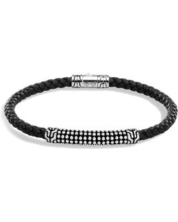 Men's Sterling Silver Classic Chain Jawan Bracelet With Black Woven Leather