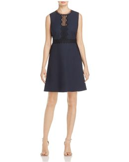 Audrey Sleeveless Contrast-lace Dress
