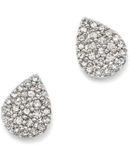 Sterling Silver Pavé Diamond Teardrop Stud Earrings