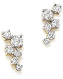 14k Yellow Gold Scattered Diamond Stud Earrings