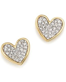 14k Yellow Gold Tiny Pavé Diamond Folded Heart Stud Earrings