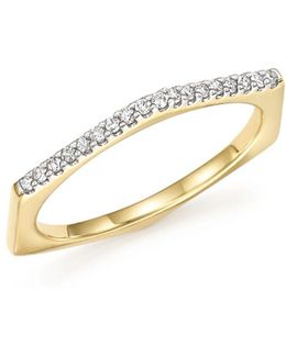14k Yellow Gold Pavé Diamond Hexagon Ring
