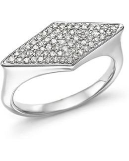 Sterling Silver Pavé Diamond Stretched Diamond Signet Ring