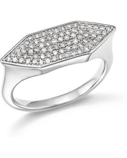 Sterling Silver Pavé Diamond Stretched Hexagon Signet Ring