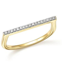 14k Yellow Gold Pavé Diamond Flat Bar Ring