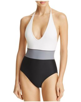 Color-block One Piece Swimsuit