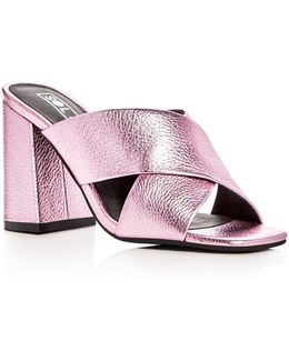 Ginny Metallic Leather High Heel Slide Sandals