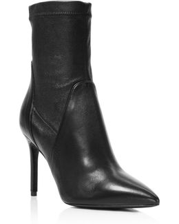 Linden Stretch Leather Pointed Toe Booties