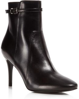 Prism Leather High Heel Booties
