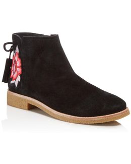 Bellville Embroidered Suede Booties