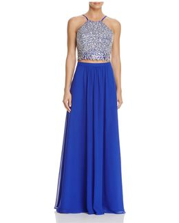 Two-piece Beaded Top Gown