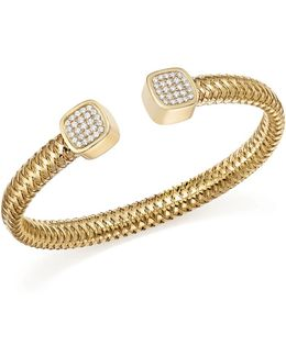 18k Yellow Gold Primavera Diamond Capped Cuff