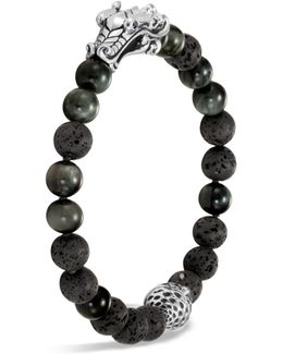Men's Sterling Silver Legends Naga Black Volcanic Rock Beaded Bracelet With Sapphire Eyes