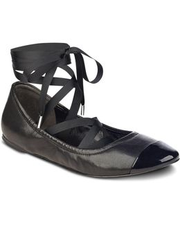 Charlotte Leather Ankle Wrap Ballet Flats