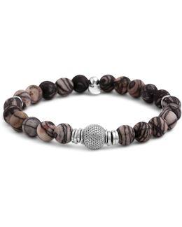 Rhodium Mesh Bead Bracelet