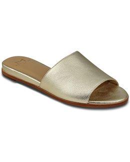 Wyndi Metallic Leather Slide Sandals
