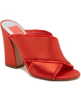Henry Frayed Satin High Heel Slide Sandals