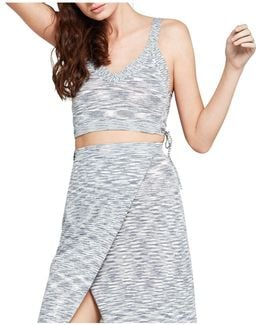 Lace-up Mélange Knit Crop Top