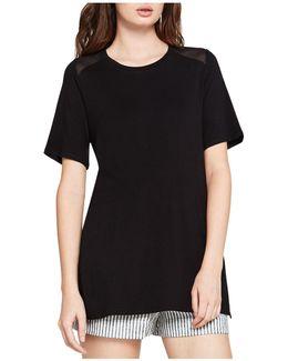 Sheer-inset Short-sleeve Tunic Top