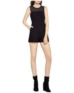 Chiffon-yoke Striped Romper