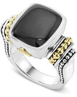 18k Gold And Sterling Silver Medium Onyx Ring