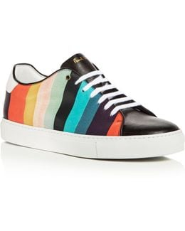 Basso Striped Leather Lace Up Sneakers