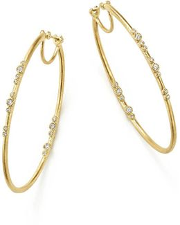 18k Yellow Gold Sueno Diamond Eternity Hoop Earrings