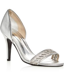Illusion Metallic Embellished D'orsay Pumps