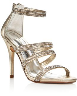 Immense Metallic Embellished High Heel Sandals