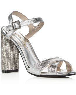 Hayley Metallic Embellished Block Heel Sandals