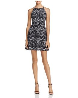 Halter-neck Fit-and-flare Dress