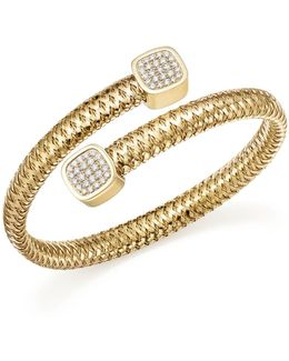 18k Yellow Gold Primavera Diamond Capped Bangle