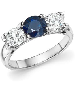 Platinum Three Stone Sapphire And Diamond Ring