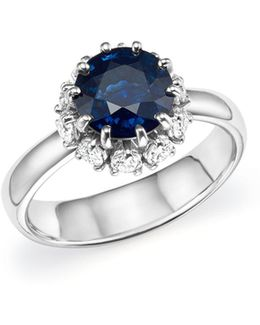 Platinum Sapphire And Diamond Halo Ring