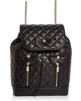 Bow Quilted Leather Backpack