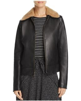 Shearling-collar Leather Jacket