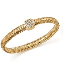 18k Yellow Gold Primavera Pavé Diamond Square Bangle