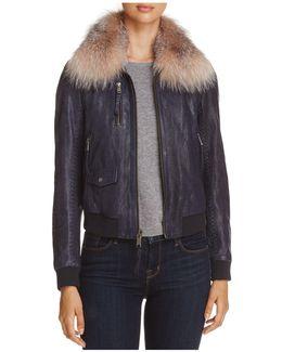 Naples Fur Trim Leather Bomber Jacket