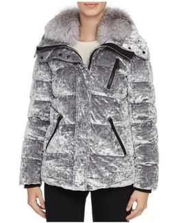 Vara Fox Fur Trim Velvet Down Coat