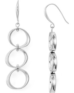 Linear Circle Drop Earrings