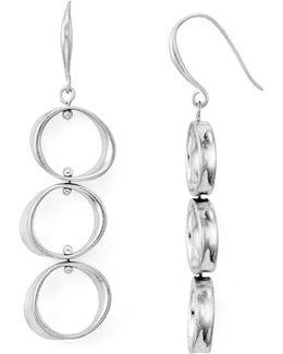 Linear Circle Drop Earrings
