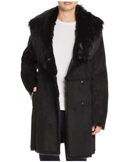 Sarah Asymmetric Front Faux Shearling Coat