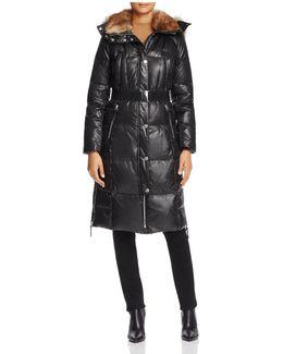 Liz Belted Faux Fur Puffer Coat