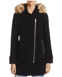 Paloma Faux Fur Trim Coat