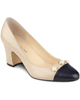 Landri Faux Pearl Embellished Cap Toe Pumps