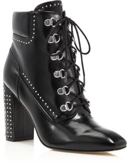 Valora Studded Lace Up Block Heel Booties