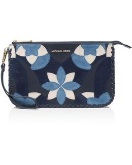 Daniela Floral Patchwork Large Leather Wristlet