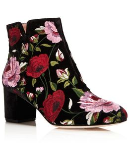 Lucine Floral Embroidered Velvet Booties
