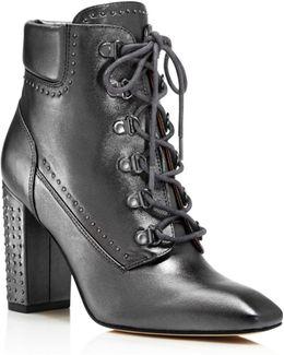 Valora Metallic Studded Lace Up Block Heel Booties